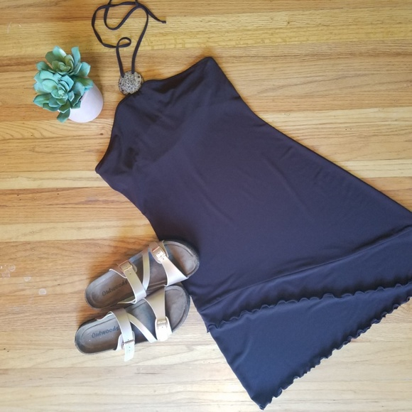 Moda International Dresses & Skirts - Brown Halter Dress w/Ruffle Detailing - S